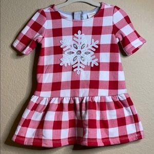 Gingham baby girls snowflake dress